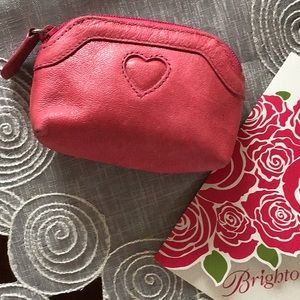 Brighton Coin Purse Pink Leather w/Leopard Lining